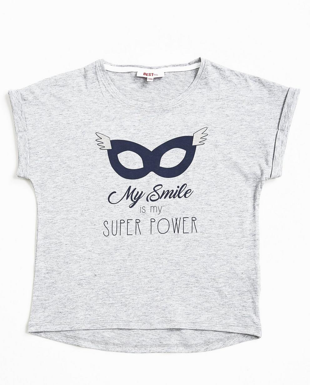 T-shirt met print - in lichtgrijs, BESTies - Besties